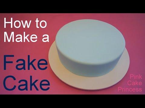How to Make a Fake Cake or Dummy Cake / Covering a Styrofoam Dummy Cake