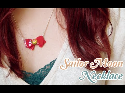 Sailor Moon Bow Necklace ☽ with Polymer Clay - YouTube