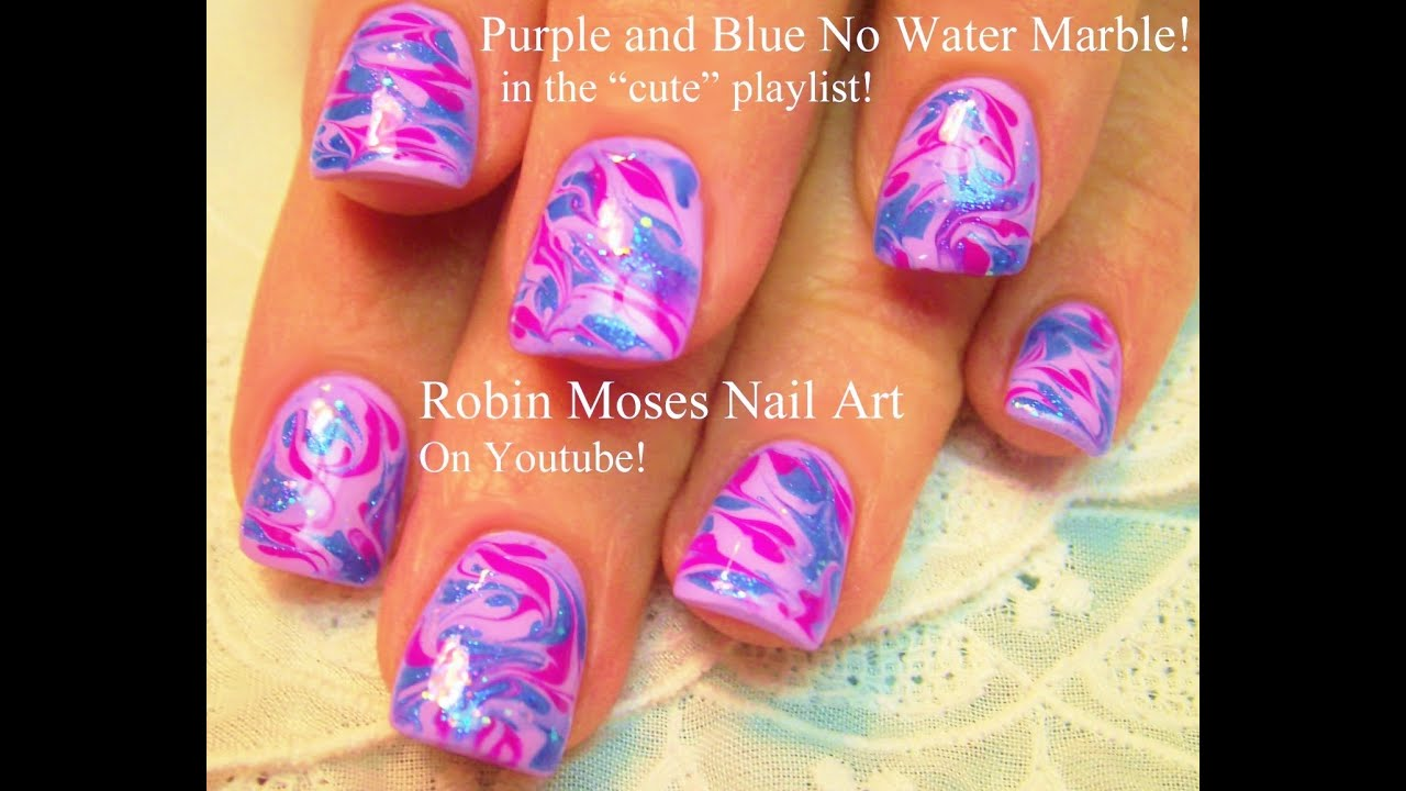 No Water Needed | Marble nail art design Tutorial - YouTube