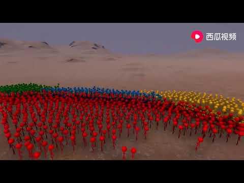 绿色、红色、蓝色、黄色,4种不同颜色的火柴人大乱斗
