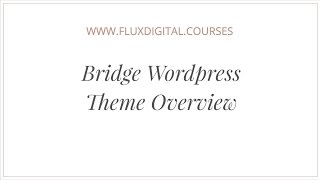 Bridge Wordpress Theme Review