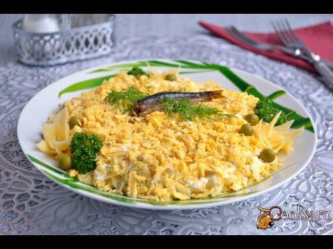 Салат с сыром, горошком и шпротами