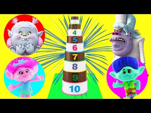 Trolls Movie Cake Toy Surprise Game! Learn Numbers & Save Poppy, Branch & Bridget from Bergen Chef!