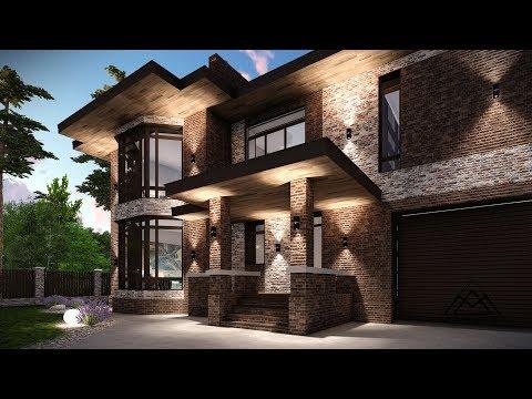 Проект дома с гаражом в стиле Райта г. Хабаровск