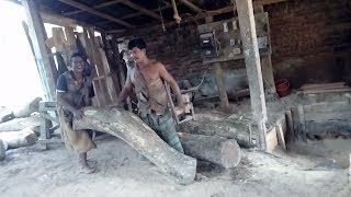 Funny Workers Doing Fun Together and Cutting Small a Lot Amount of Wood in Very Rural Saw Mill-Asia