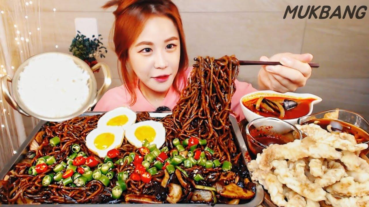 SUB) 땡초듬뿍 쟁반짜장 탕수육 (Feat.냄비밥) 먹방 MUKBANG ASMR yummy eating show 짜장면 청양고추 짬뽕 Black-bean-sauce noodles