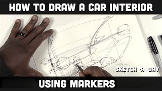 How to sketch a car interior using markers