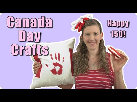 DIY Canada Day Crafts - Painted Pillow Case, Headband, Ice Cream Sandwich & Photo Backdrop