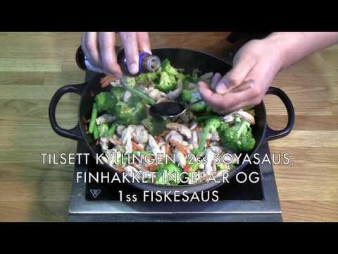 Spicy kyllingwok med ferske grønnsaker - en rett fra www.marked.no