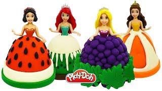 Куклы ПРИНЦЕССЫ ДИСНЕЯ ФРУКТЫ И ЯГОДЫ. Лепим наряды из пластилина Play Doh. Поделки для детей
