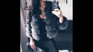 FURSARCAR Real Fur Jacket Coat Fox Fur Genuine Leather Overcoat