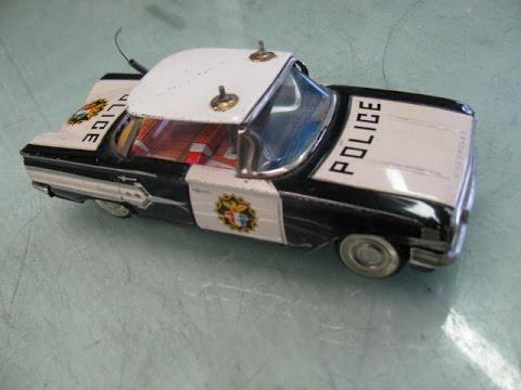 tin toy repair Police Car, Japan 1961