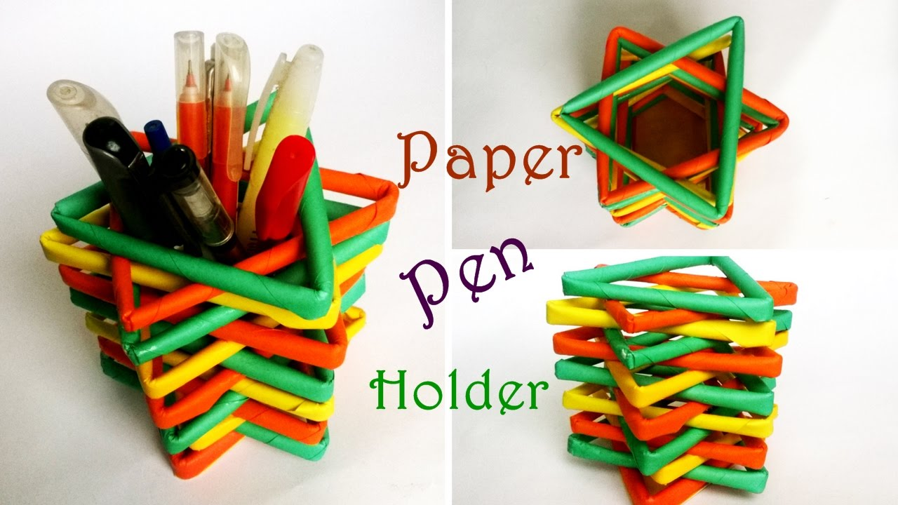 how to make paper pencil holder how to make pen stand origami pen holder pencil stand. Black Bedroom Furniture Sets. Home Design Ideas