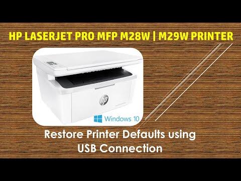 HP LaserJet Pro MFP m28w | m29w Printer : Restore to factory defaults using USB connection
