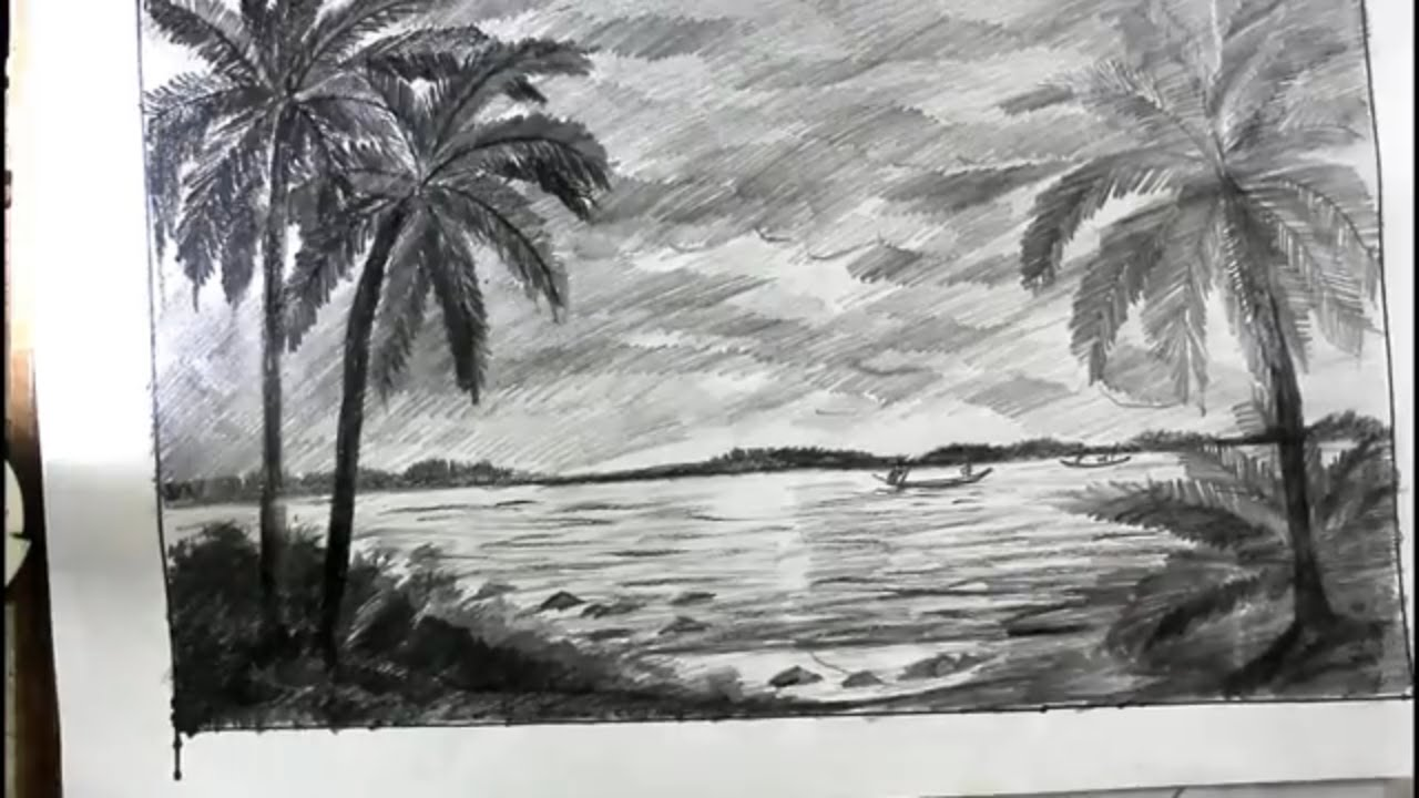 How to draw a beach with pencil step by step coconat tree beach drawing
