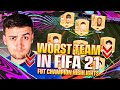 I played FUT CHAMPS using THE WORST BRONZE TEAM on FIFA 21!!