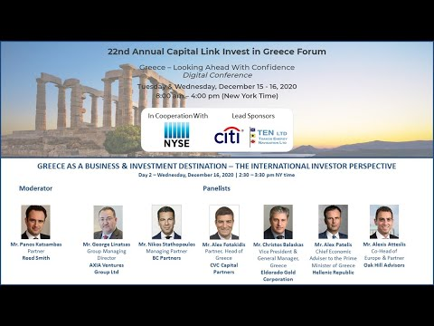 2020 - Capital Link 22nd Annual Invest in Greece Forum-Greece as a Business & Investment Destination
