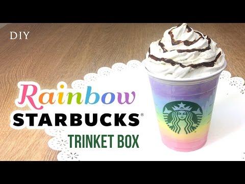 DIY Starbucks Room Decor - RAINBOW Frappuccino Trinket Box!