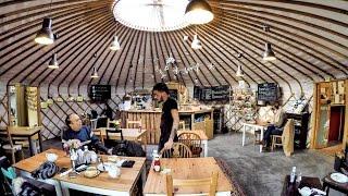 Mongolian Yurt Nomadic Tent as a Coffee Shop in London ! Curious