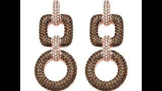 Joan Boyce Circle and Square Pav Drop Earrings