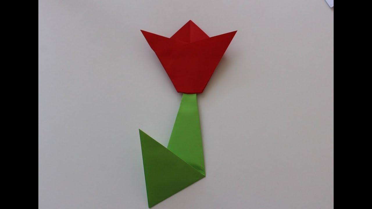 Tulipan Z Papieru Kwiat Origami Latwe Origami Youtube