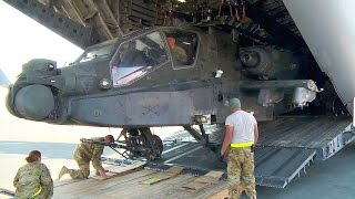 Repeat youtube video Unloading AH-64 Apache Helicopters from C-17 Globemaster III