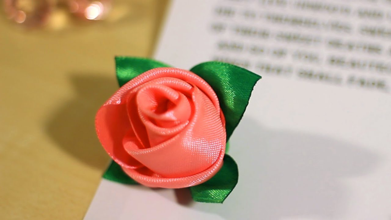 Diy Ribbon Rose How To Make Rose Buds Out Of Ribbon Youtube