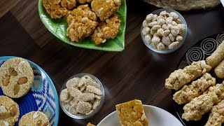 Pan shot of various Indian sweets consumed during Lohri festival - winter season