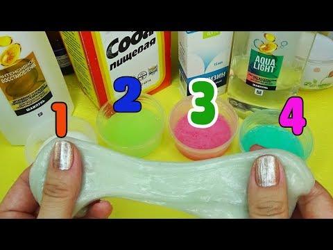 4 Лизуна без клея Слайм из шампуня Как сделать лизун Проверка