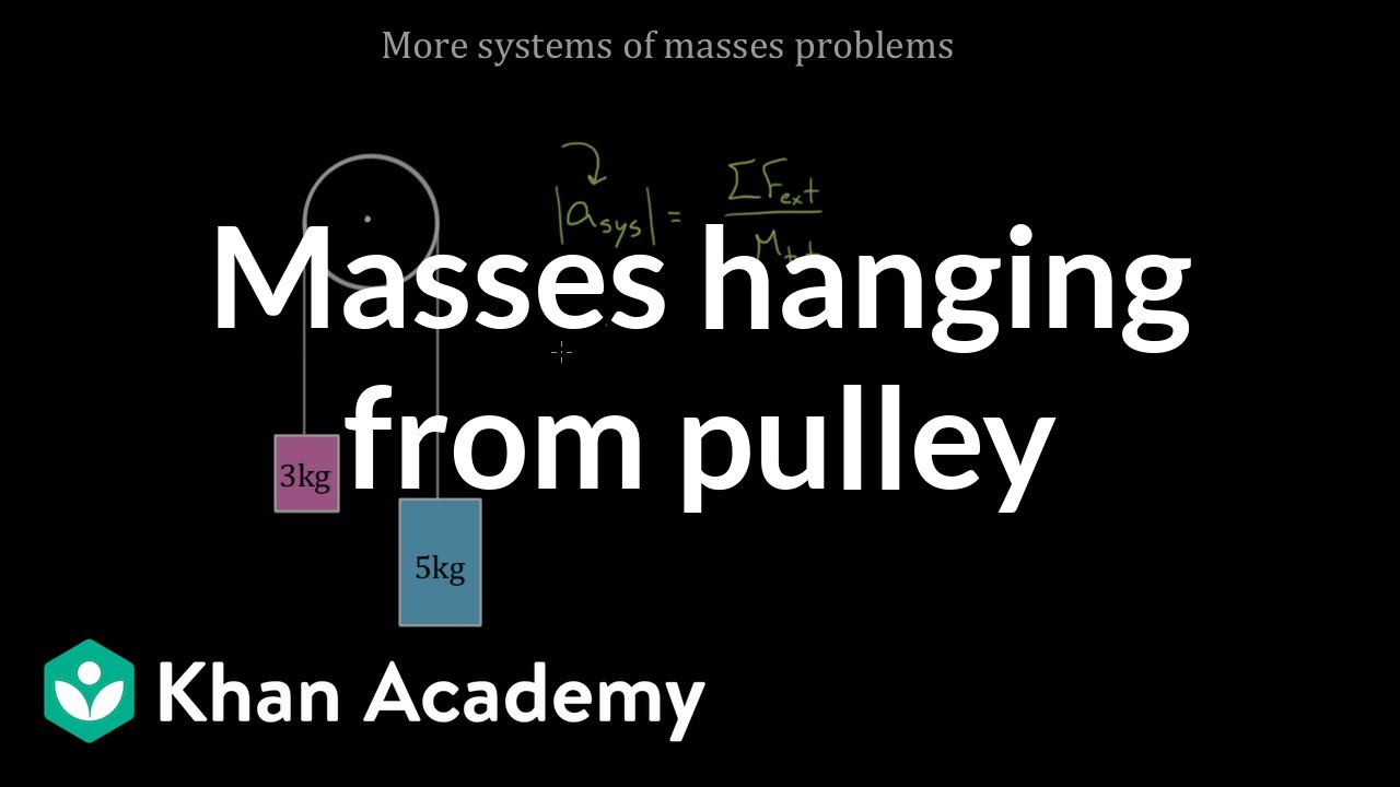 Two masses hanging from a pulley (video) | Khan Academy