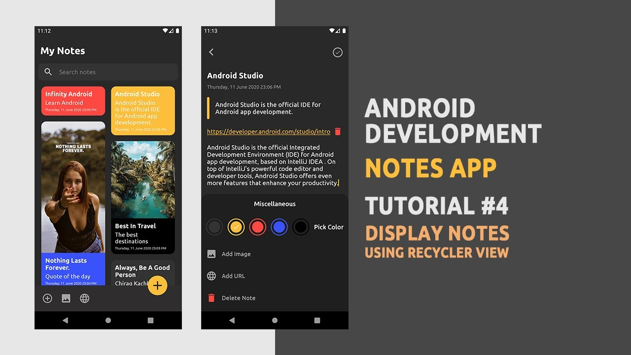 Android Development - Notes App - Display Notes - Recycler View - Android Studio - #4