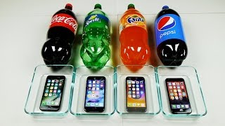 iPhone 7 in Coca-Cola vs Sprite vs Fanta vs Pepsi 24 Hours Freeze Test!