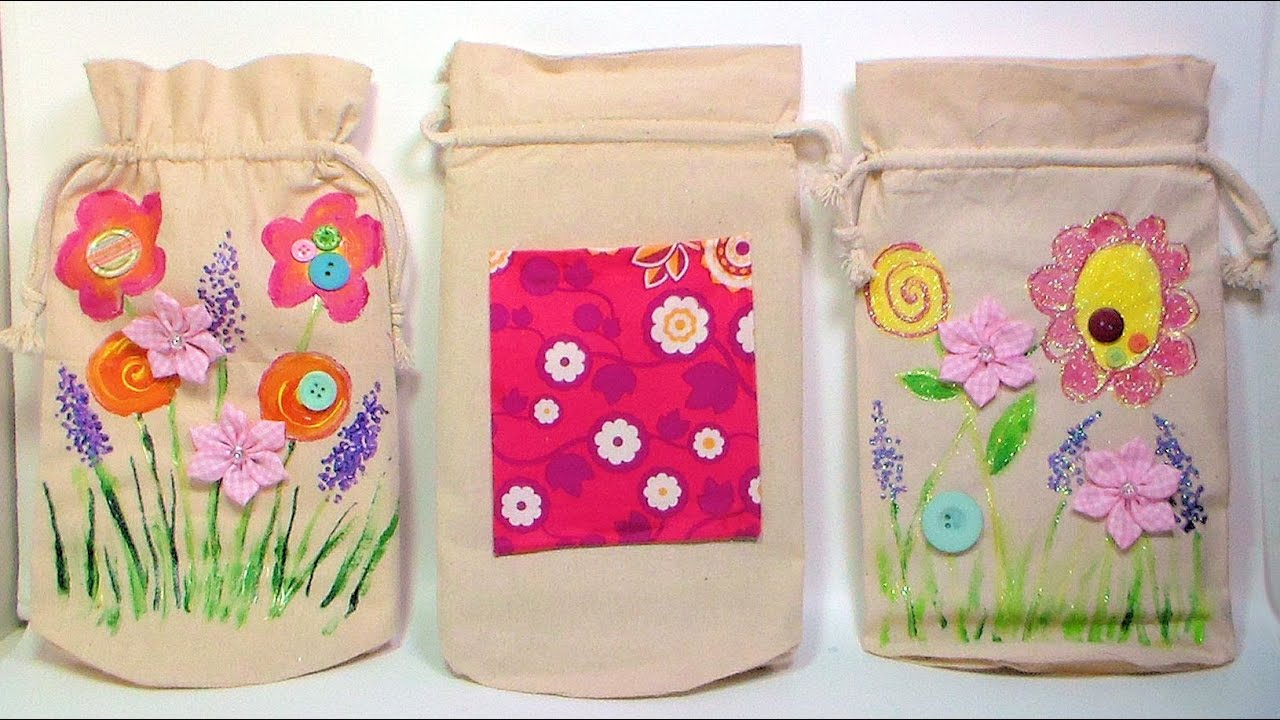 Painted and Embellished Canvas Bags {make this with the kids ...