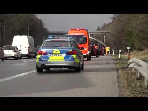 Schwerer Unfall auf der A95 zwischen Iffeldorf in Fahrtrichtung Seeshaupt, 19.01.2018