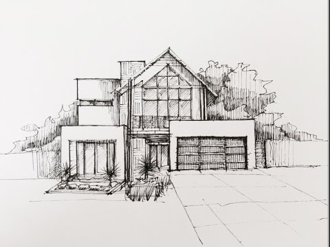 Architectural sketching 01 youtube for Architectural drawings of houses