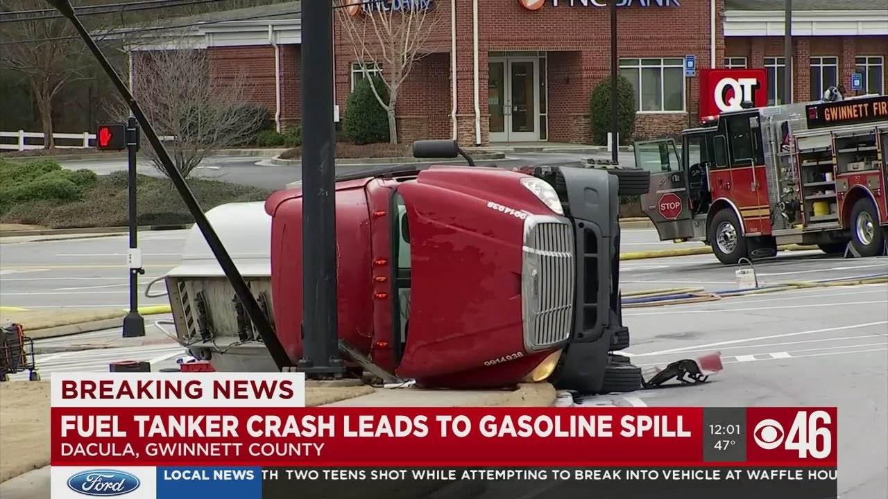 Fuel tanker crash leads to gasoline spill