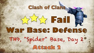 Clash of Clans Town Hall 9 War Base 2 Air Sweepers - Spider Base, Day 2, Attack 2 (Anti 2/3 star?)