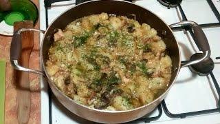 Картошка с мясом, грибами и сыром без духовки!