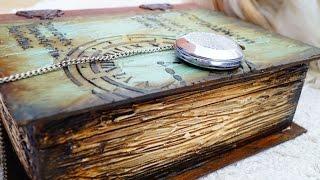 Decoupage Tutorial Vintage Wooden Book - Ντεκουπάζ Ξύλινο Βιβλίο - DIY Craft by Debi