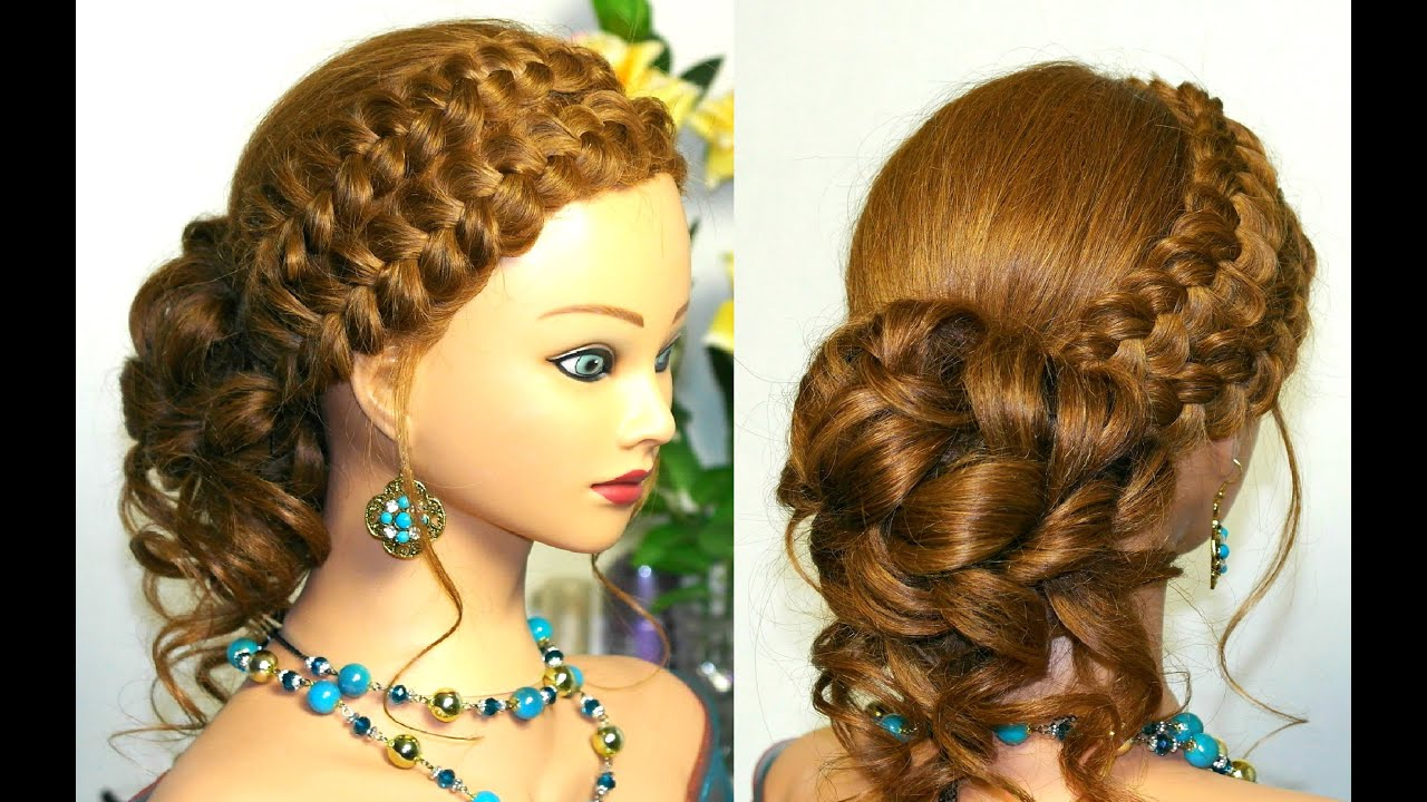 Braid Hairstyles For Long Hair Youtube : Curly updo hairstyle for long hair with braids - YouTube