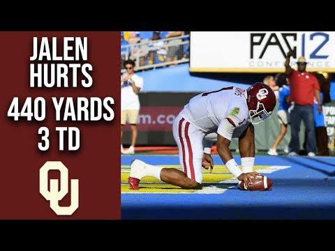 Oklahoma QB Jalen Hurts 3 TD 440 Yard Performance vs UCLA