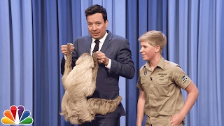 Robert Irwin and Jimmy Cuddle a Sloth by : The Tonight Show Starring Jimmy Fallon