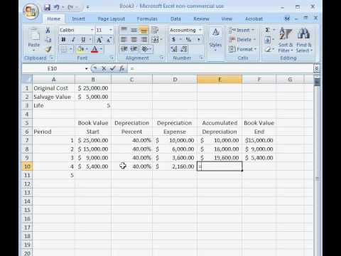 How to Calculate Double Declining Depreciation in Excel - YouTube