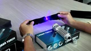 Sinodoor 445nm Laser Blue Ray 5mw Flashlight Torch Cigarette Burn Beam Kit (Blue Metal Set)