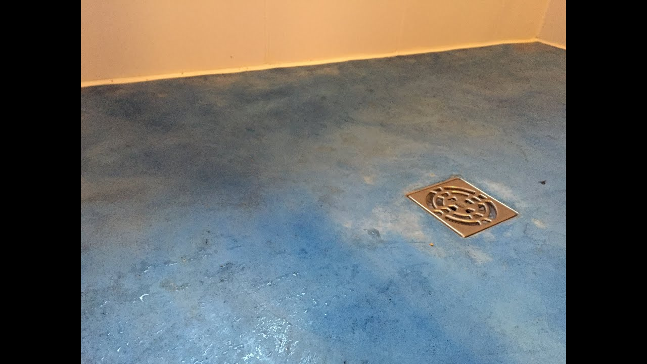 DIY blue concrete shower floor Part 3 Pouring the Top layer - YouTube