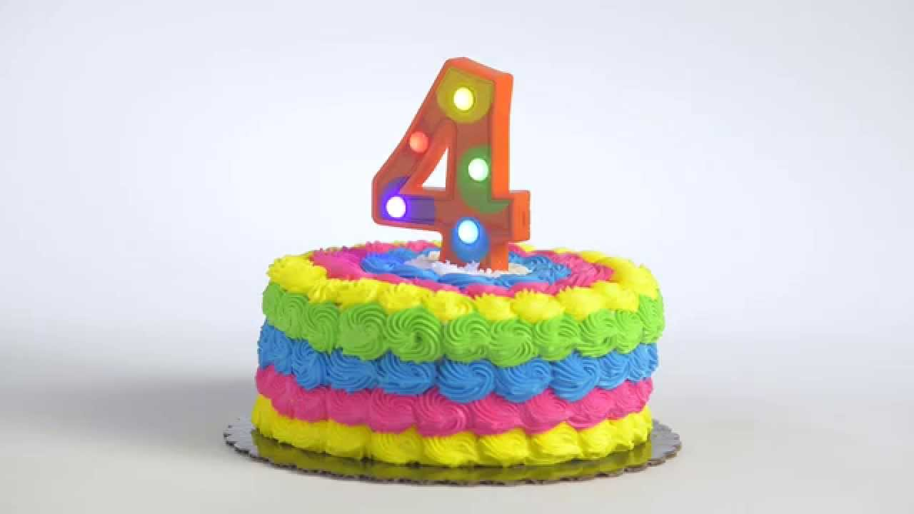 Flashing Number 4 Cake Decoration