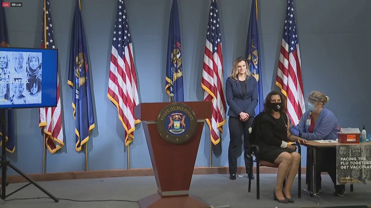 Governor Whitmer Gets Flu Shot At Live Press Conference Greater West Bloomfield Civic Center Tv