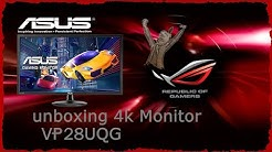 Asus 4k Monitor VP28UQG unboxing - german / deutsch