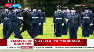 President Uhuru inspects guard of honour at state house during 57th Madaraka day celebrations