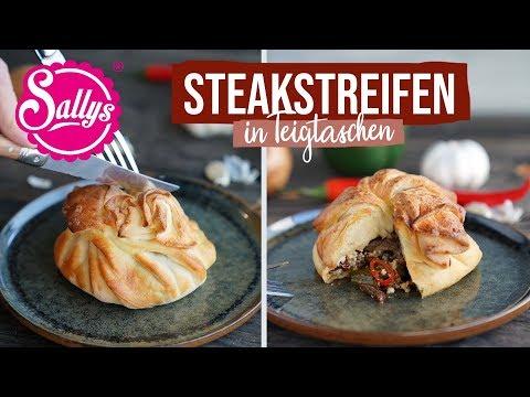 Steakstreifen in Teigtaschen / Philly Cheese / gefüllter Hefeteig / Sallys Welt